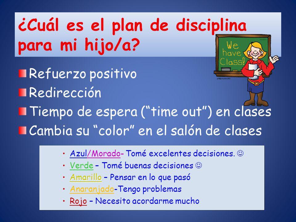 ¿Cuál es el plan de disciplina para mi hijo/a
