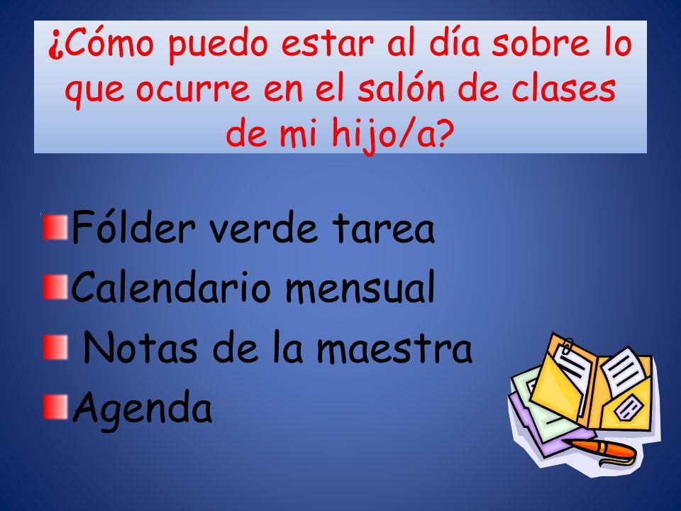 Fólder verde tarea Calendario mensual Notas de la maestra Agenda