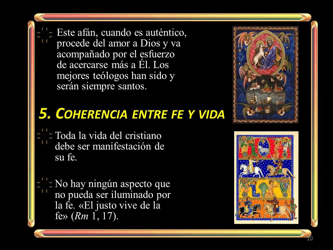 5. Coherencia entre fe y vida