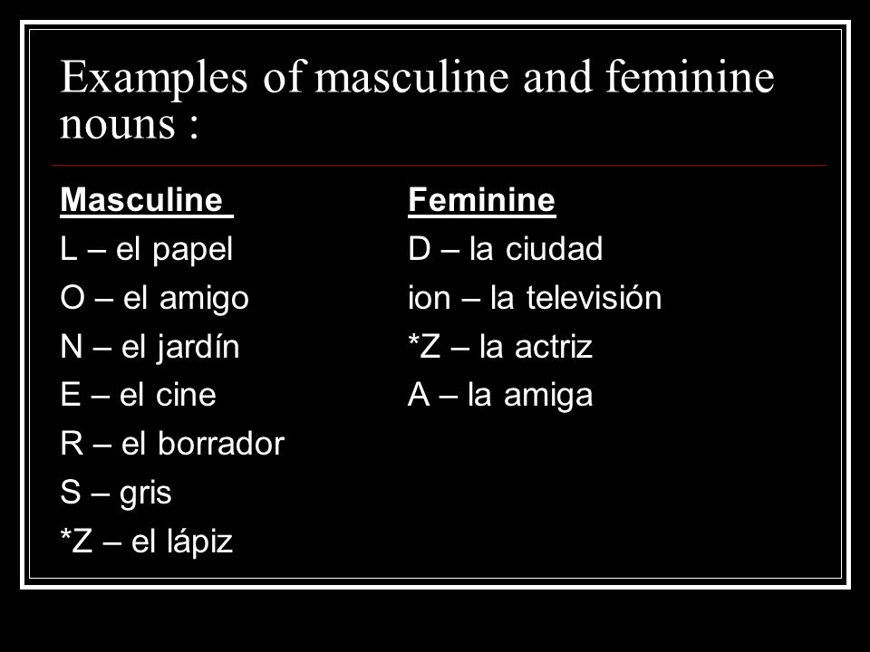 Examples of masculine and feminine nouns :