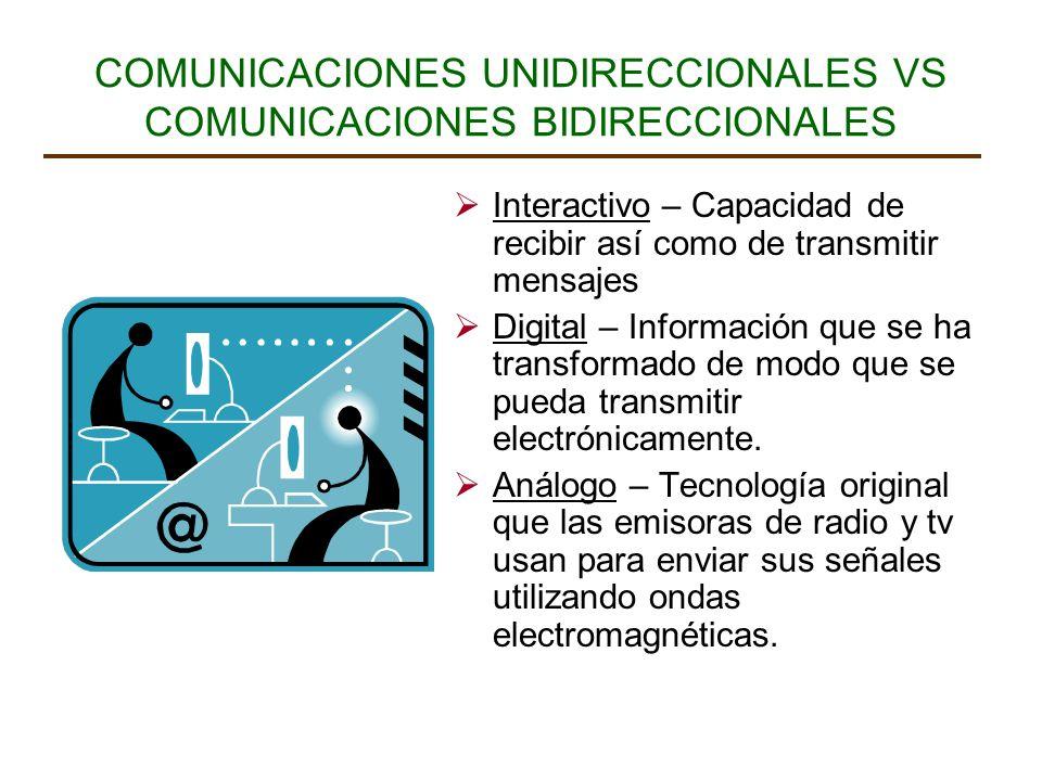 COMUNICACIONES UNIDIRECCIONALES VS COMUNICACIONES BIDIRECCIONALES