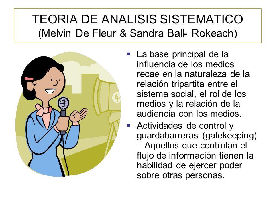 TEORIA DE ANALISIS SISTEMATICO (Melvin De Fleur & Sandra Ball- Rokeach)