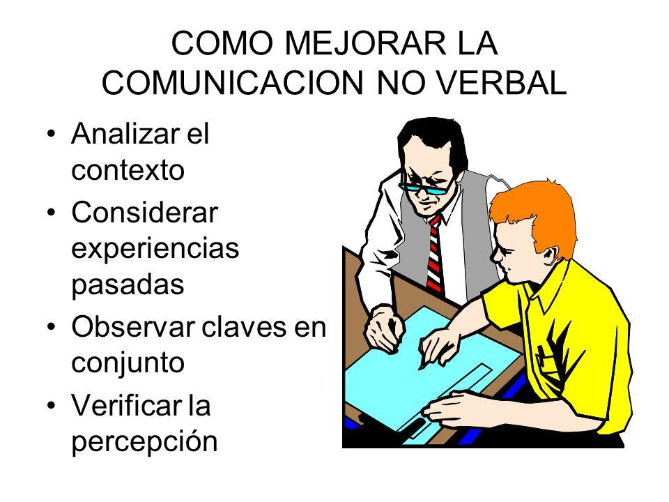 COMO MEJORAR LA COMUNICACION NO VERBAL
