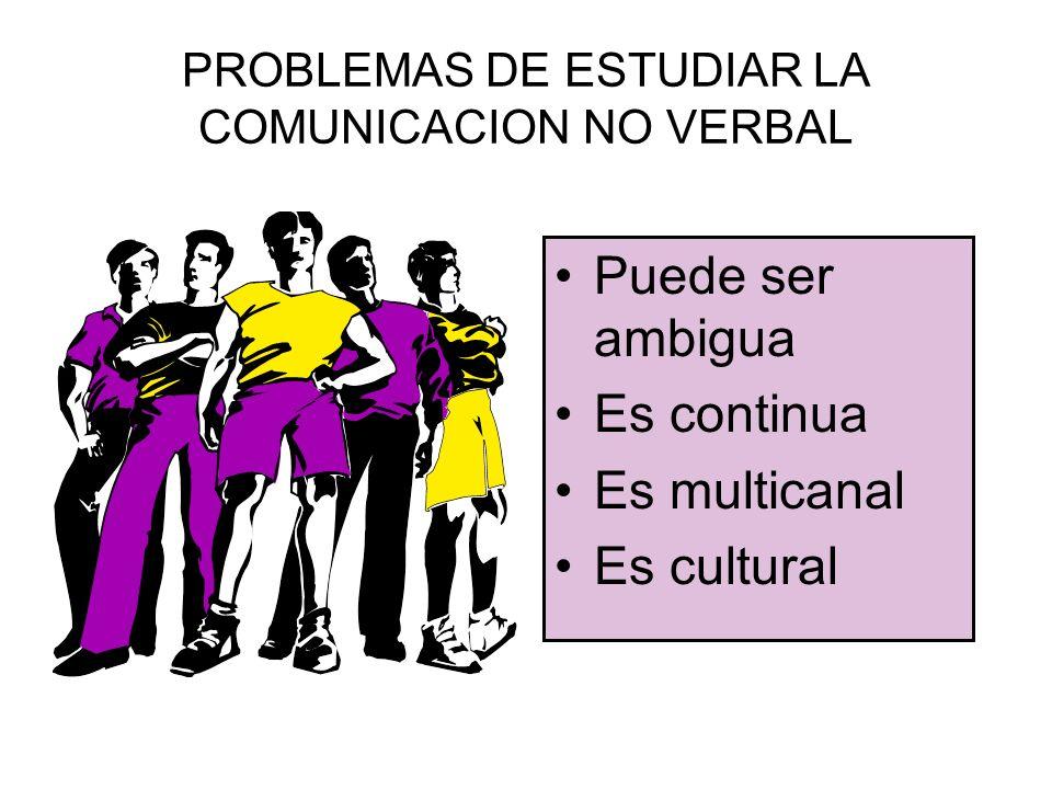 PROBLEMAS DE ESTUDIAR LA COMUNICACION NO VERBAL