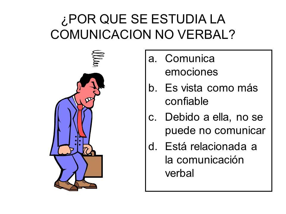 ¿POR QUE SE ESTUDIA LA COMUNICACION NO VERBAL