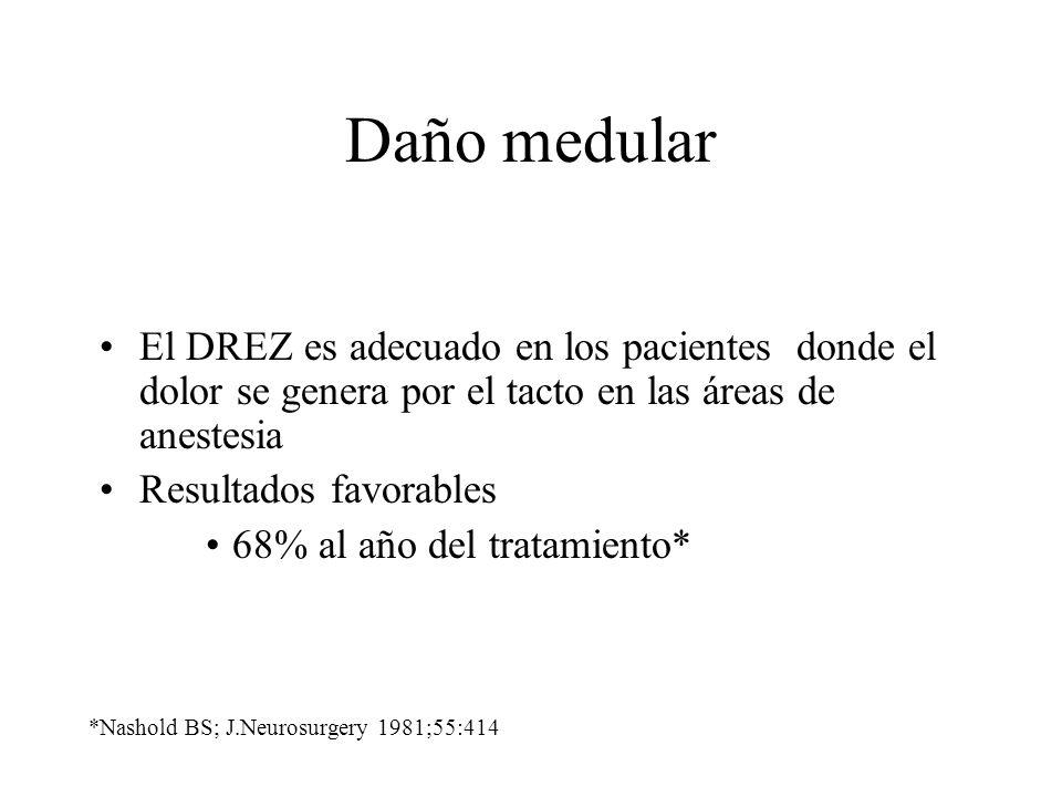 Daño medular El DREZ es adecuado en los pacientes donde el dolor se genera por el tacto en las áreas de anestesia.