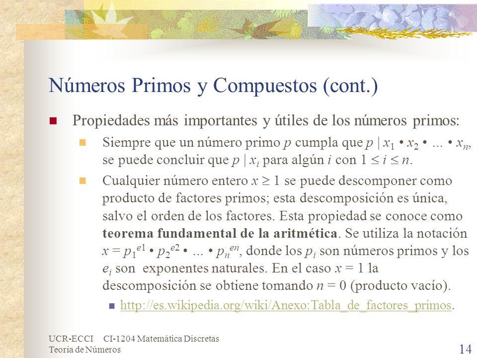 Números Primos y Compuestos (cont.)