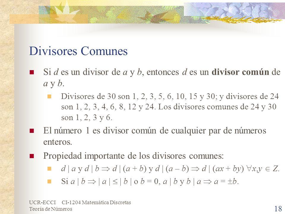 Divisores Comunes Si d es un divisor de a y b, entonces d es un divisor común de a y b.