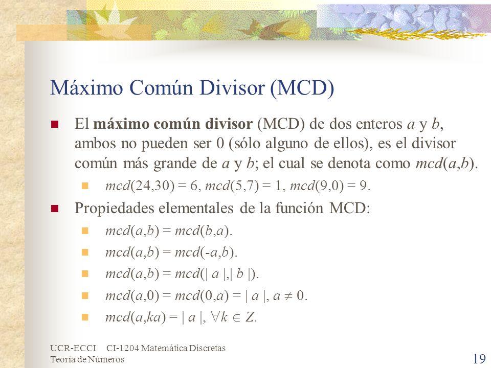 Máximo Común Divisor (MCD)