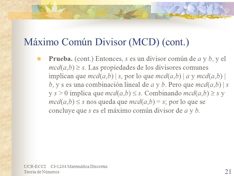 Máximo Común Divisor (MCD) (cont.)
