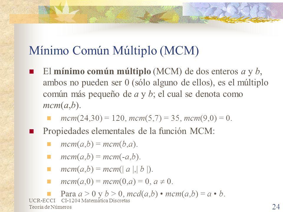Mínimo Común Múltiplo (MCM)