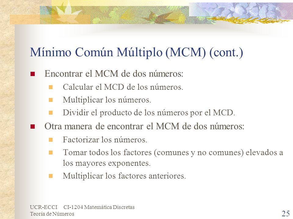 Mínimo Común Múltiplo (MCM) (cont.)