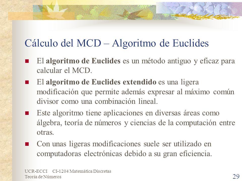 Cálculo del MCD – Algoritmo de Euclides