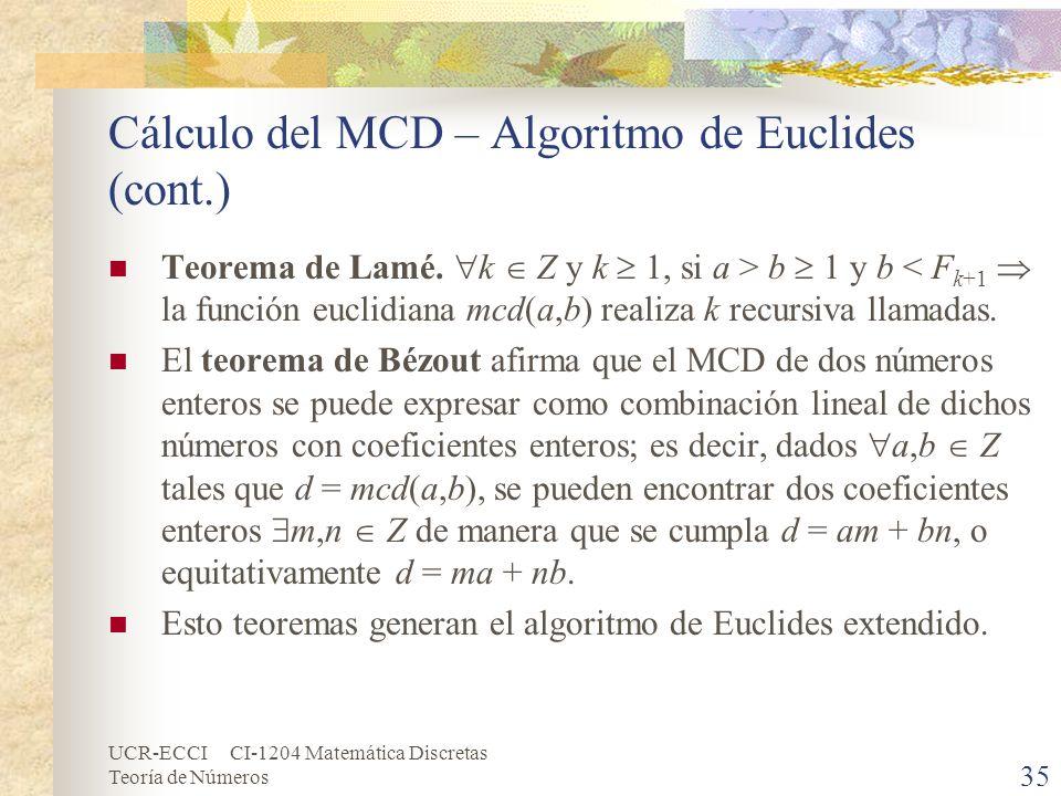 Cálculo del MCD – Algoritmo de Euclides (cont.)