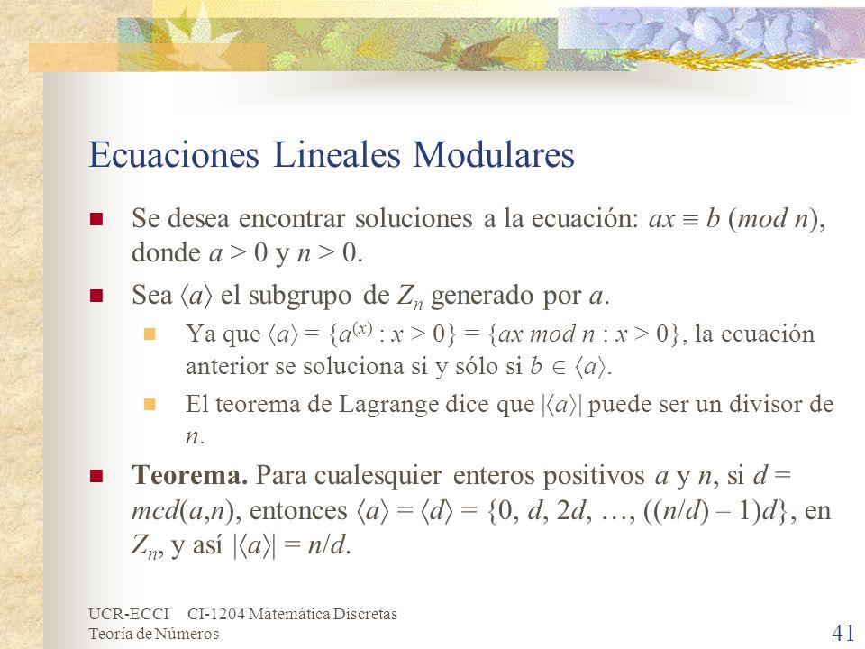 Ecuaciones Lineales Modulares