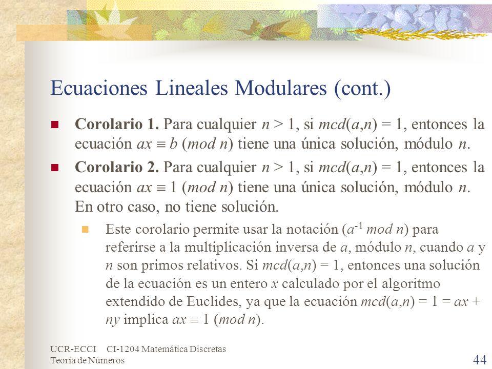 Ecuaciones Lineales Modulares (cont.)