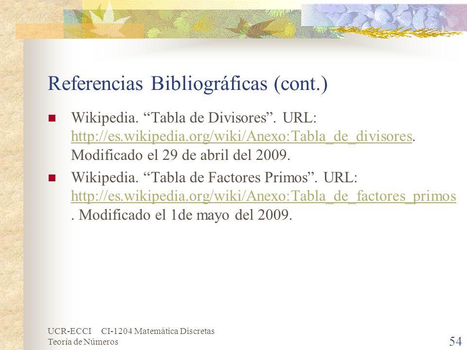 Referencias Bibliográficas (cont.)