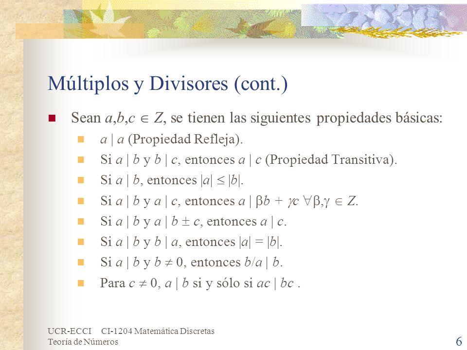Múltiplos y Divisores (cont.)