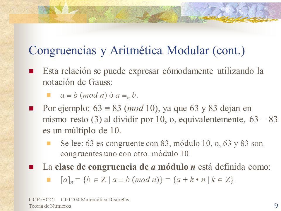 Congruencias y Aritmética Modular (cont.)