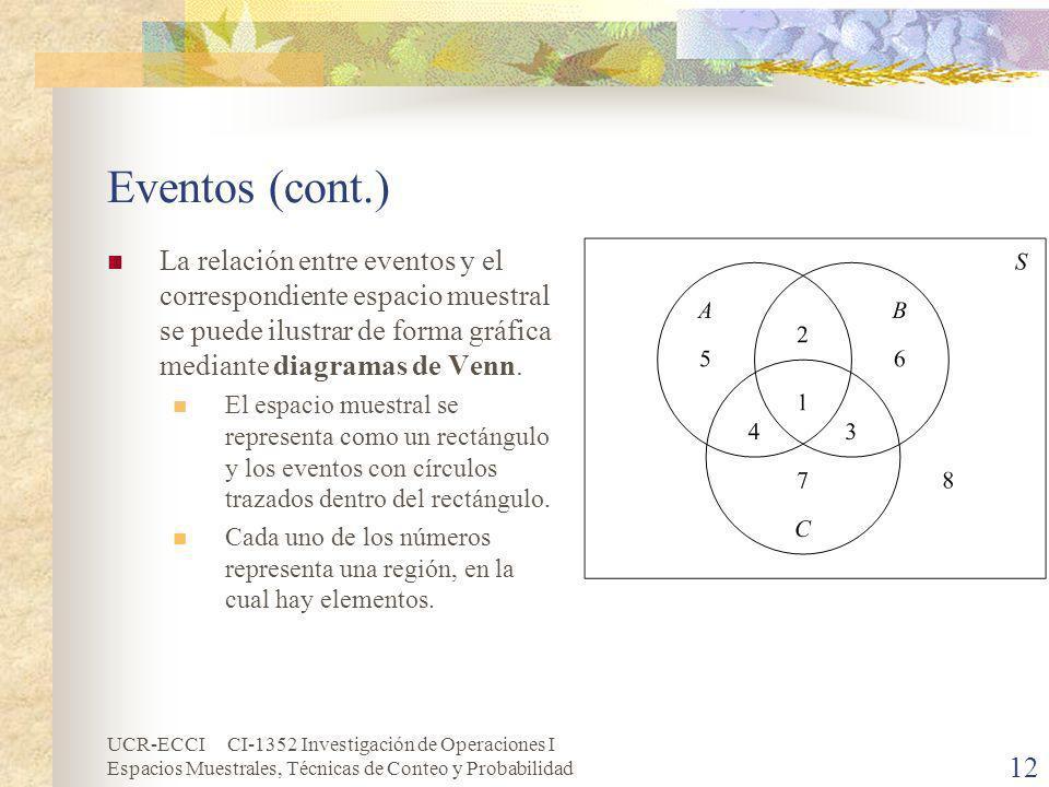 Eventos (cont.) La relación entre eventos y el correspondiente espacio muestral se puede ilustrar de forma gráfica mediante diagramas de Venn.