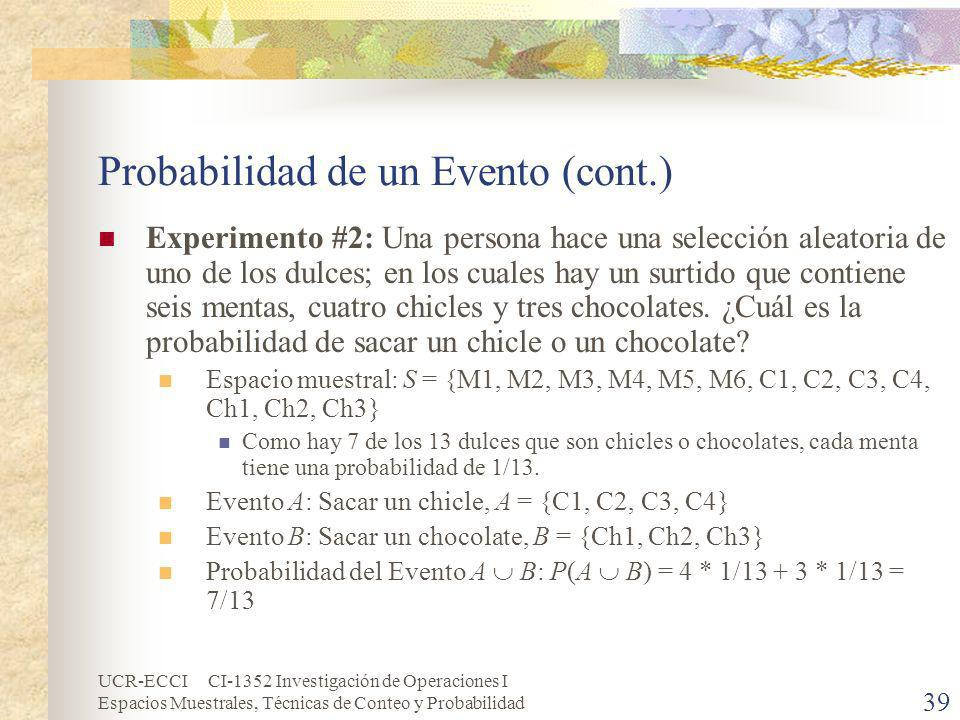 Probabilidad de un Evento (cont.)