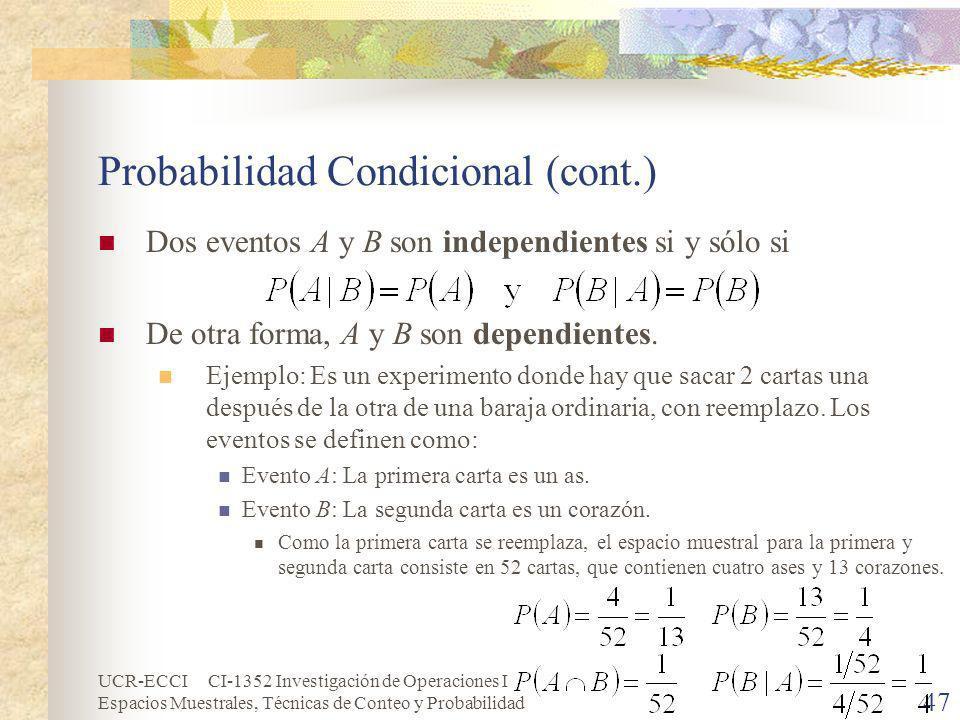 Probabilidad Condicional (cont.)