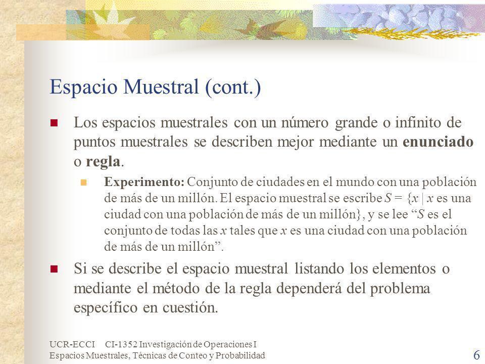 Espacio Muestral (cont.)
