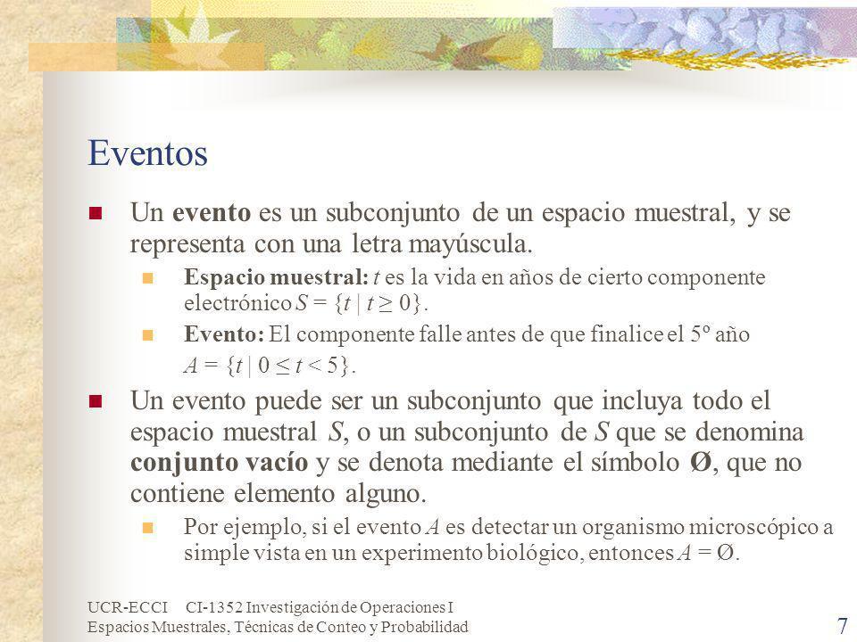 Eventos Un evento es un subconjunto de un espacio muestral, y se representa con una letra mayúscula.