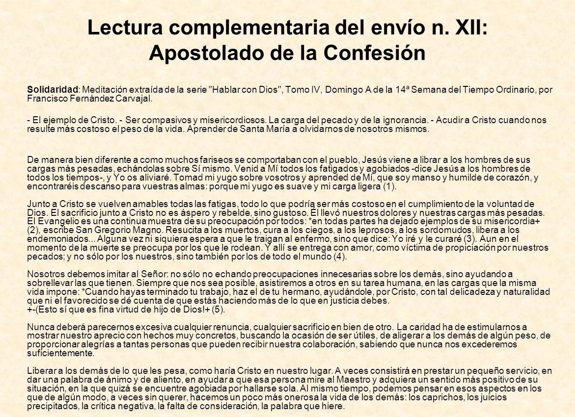 Lectura complementaria del envío n. XII: Apostolado de la Confesión
