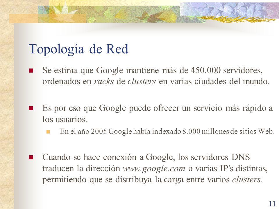 Topología de RedSe estima que Google mantiene más de 450.000 servidores, ordenados en racks de clusters en varias ciudades del mundo.