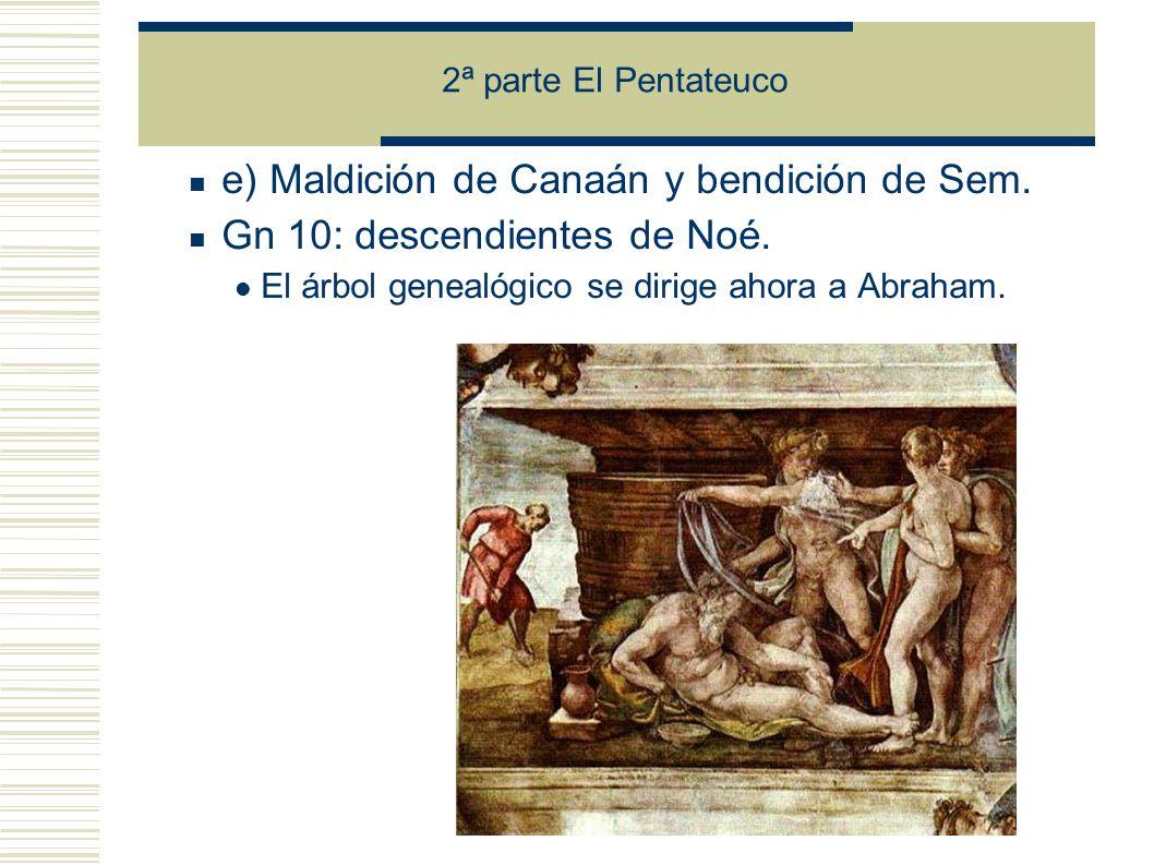 e) Maldición de Canaán y bendición de Sem.