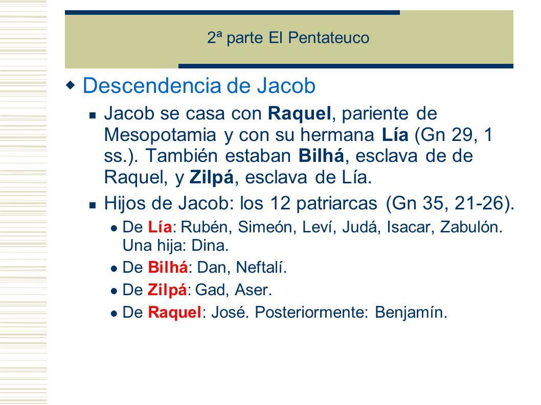 2ª parte El Pentateuco Descendencia de Jacob.