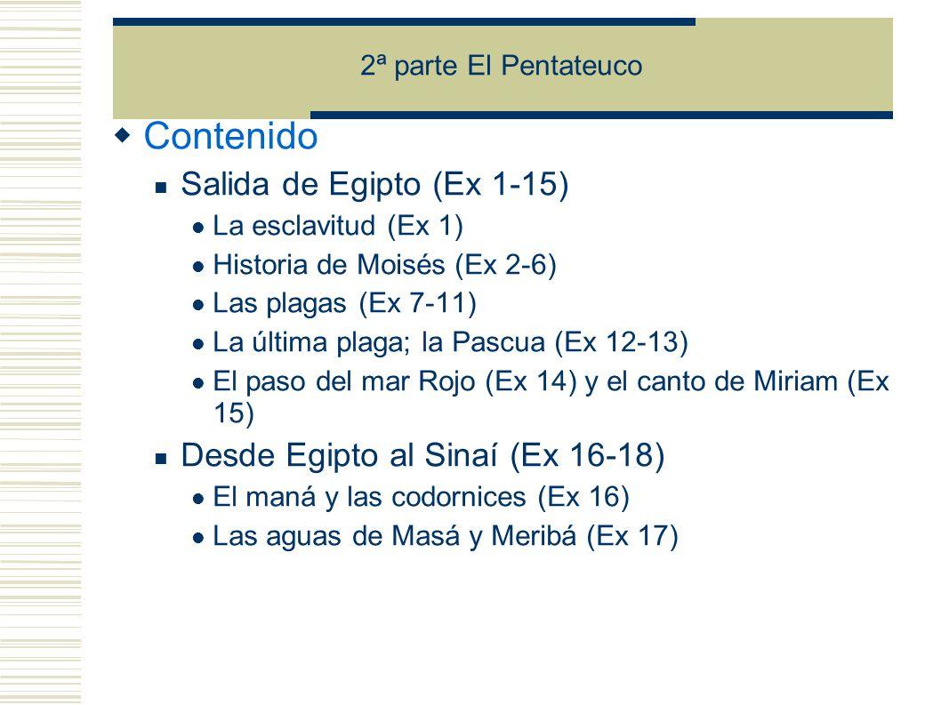 Contenido Salida de Egipto (Ex 1-15) Desde Egipto al Sinaí (Ex 16-18)