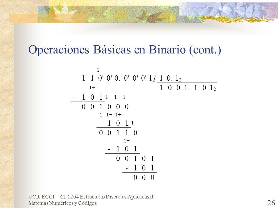 Operaciones Básicas en Binario (cont.)