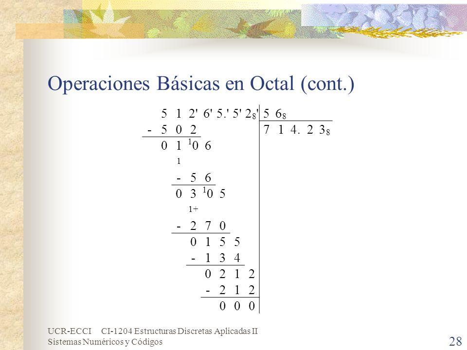 Operaciones Básicas en Octal (cont.)