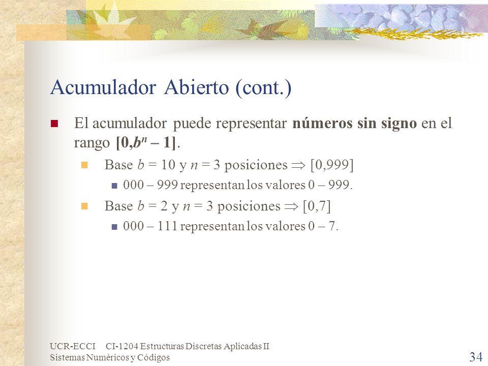 Acumulador Abierto (cont.)