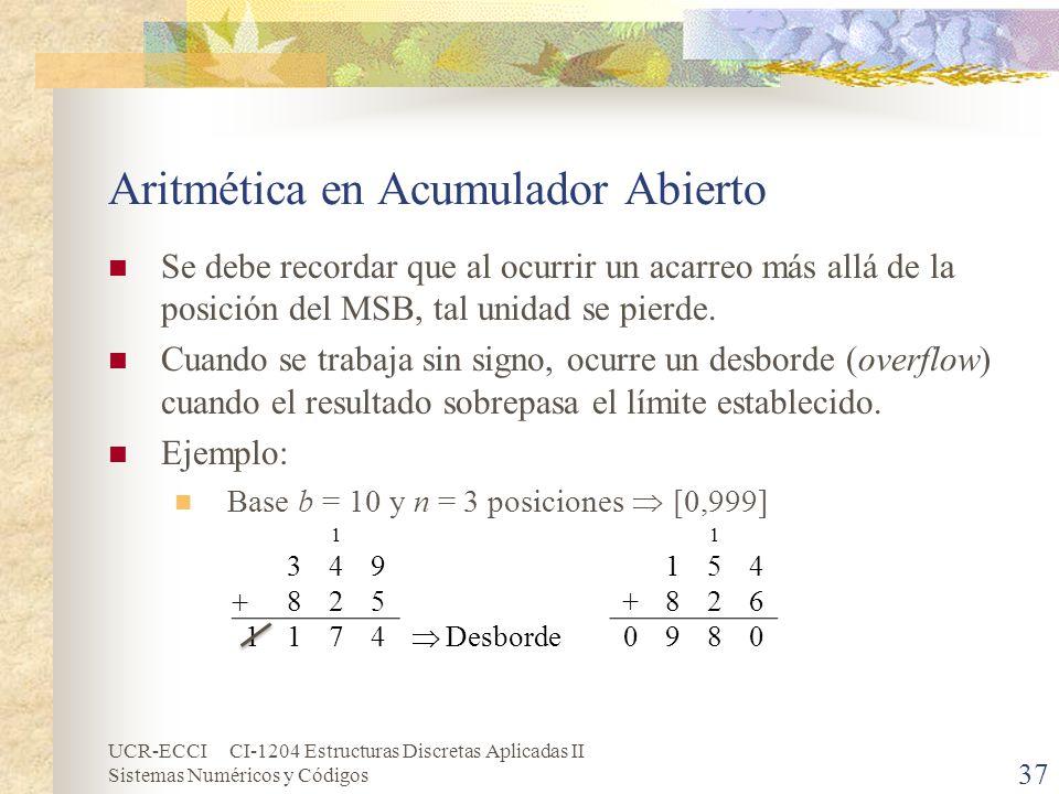 Aritmética en Acumulador Abierto