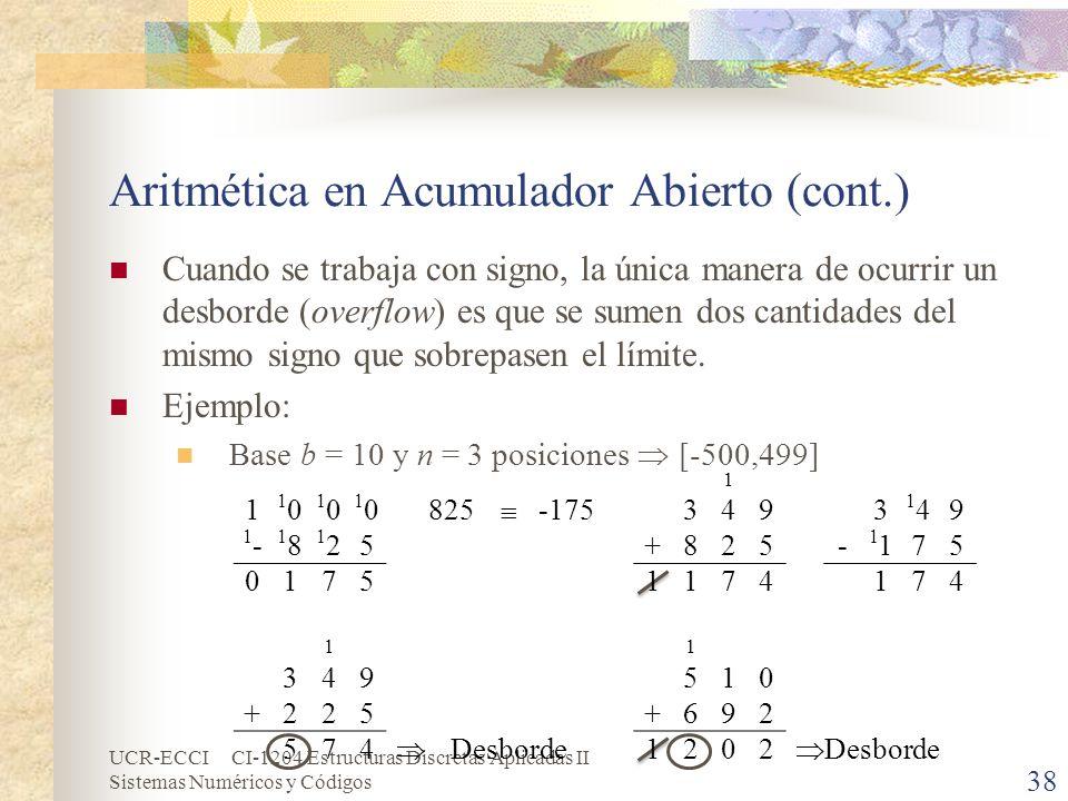 Aritmética en Acumulador Abierto (cont.)