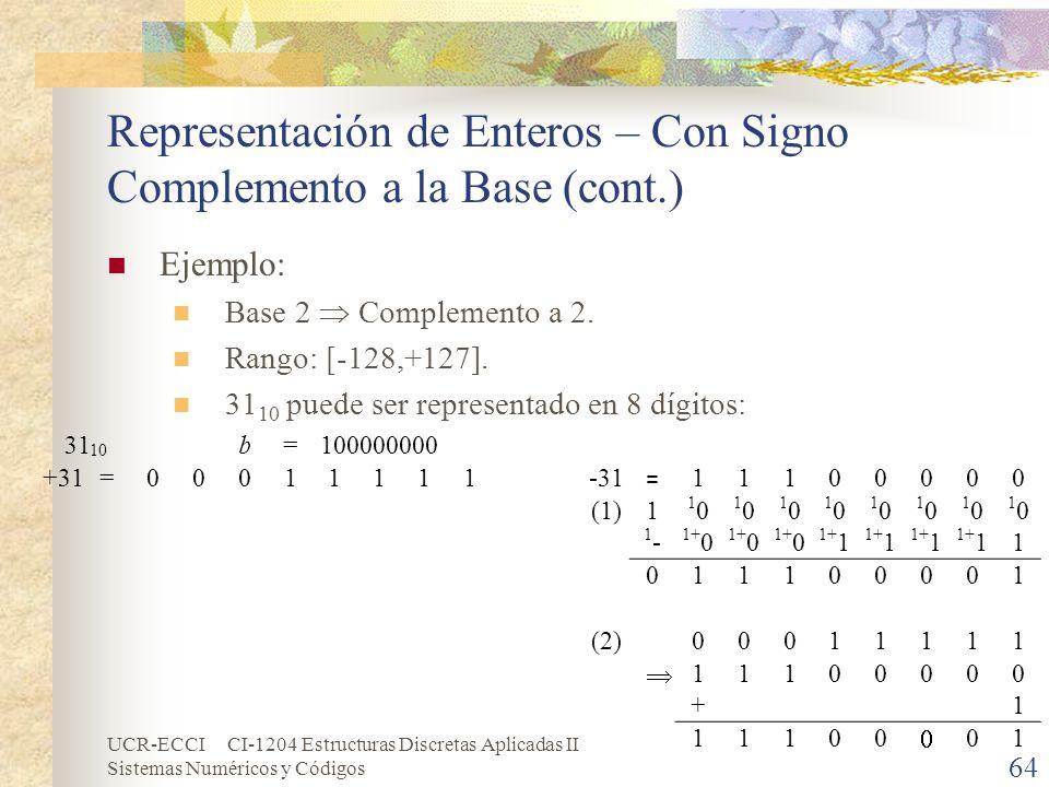 Representación de Enteros – Con Signo Complemento a la Base (cont.)