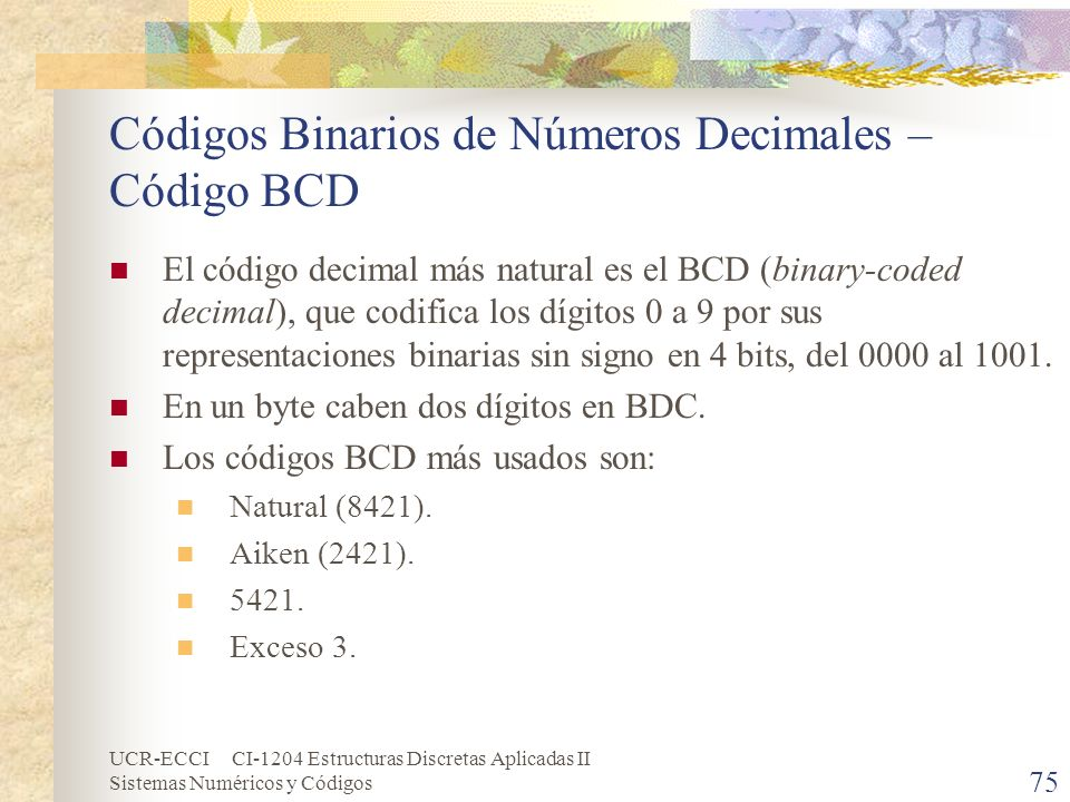 Códigos Binarios de Números Decimales – Código BCD