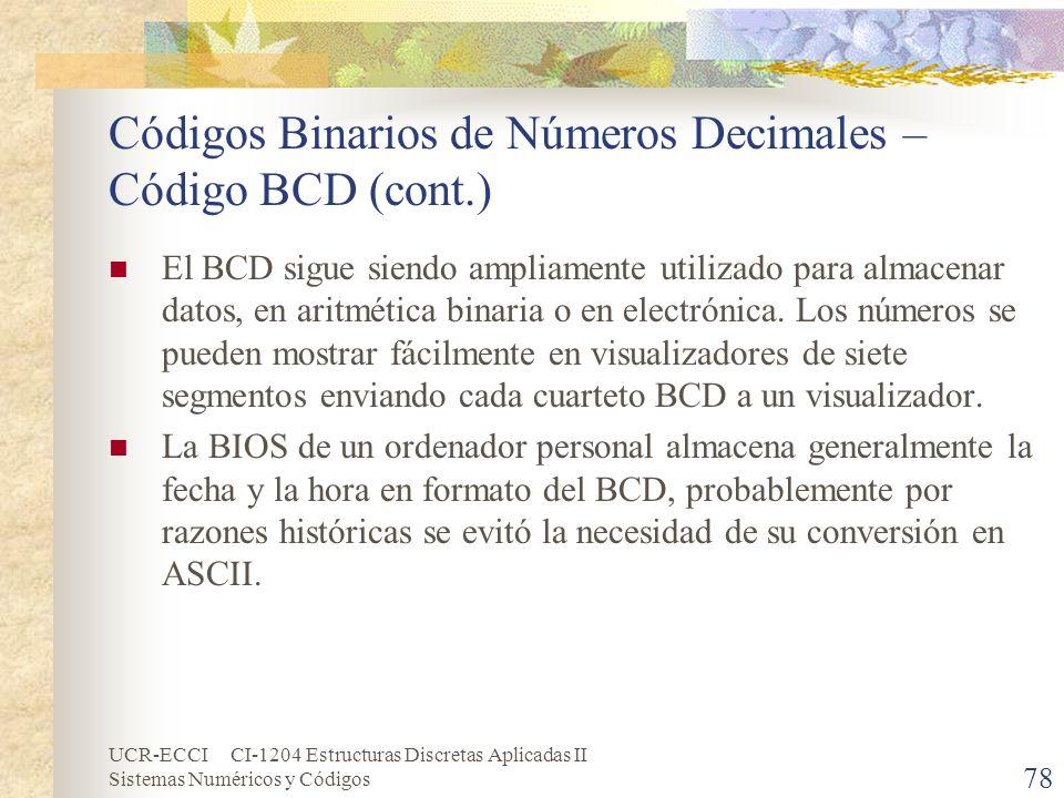 Códigos Binarios de Números Decimales – Código BCD (cont.)