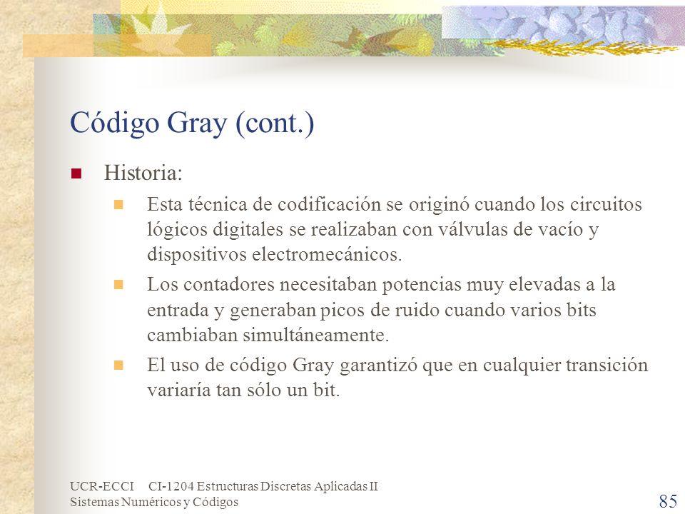 Código Gray (cont.) Historia: