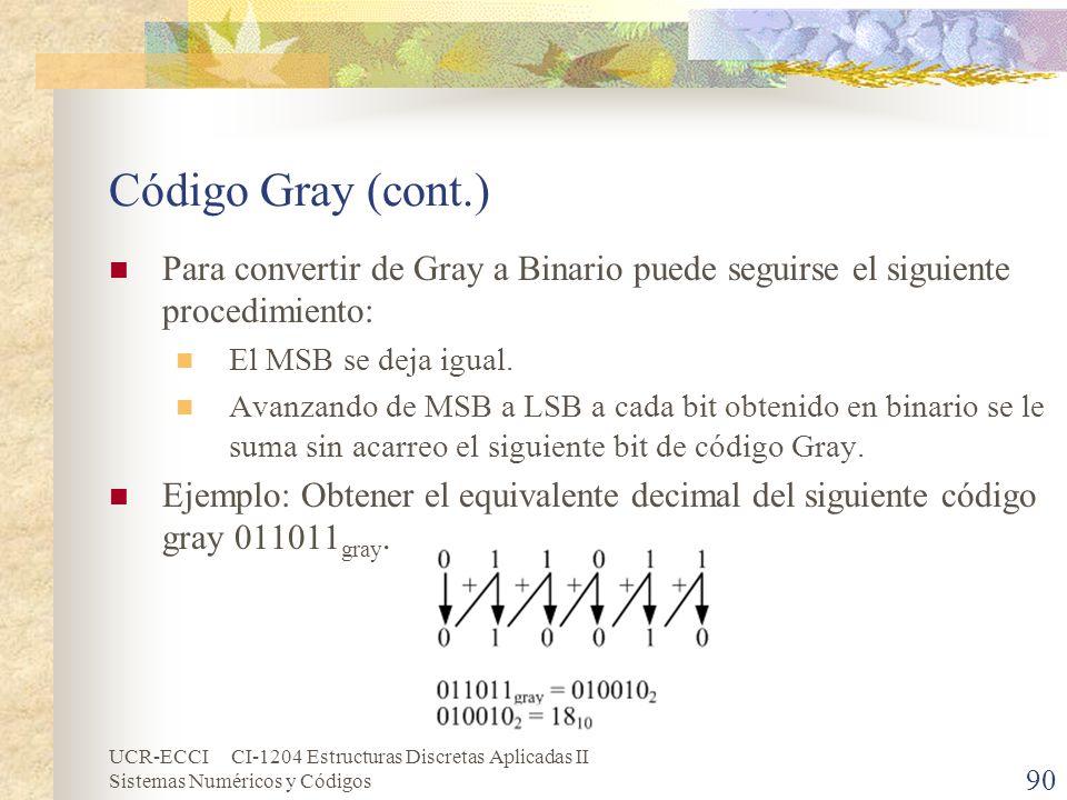 Código Gray (cont.) Para convertir de Gray a Binario puede seguirse el siguiente procedimiento: El MSB se deja igual.