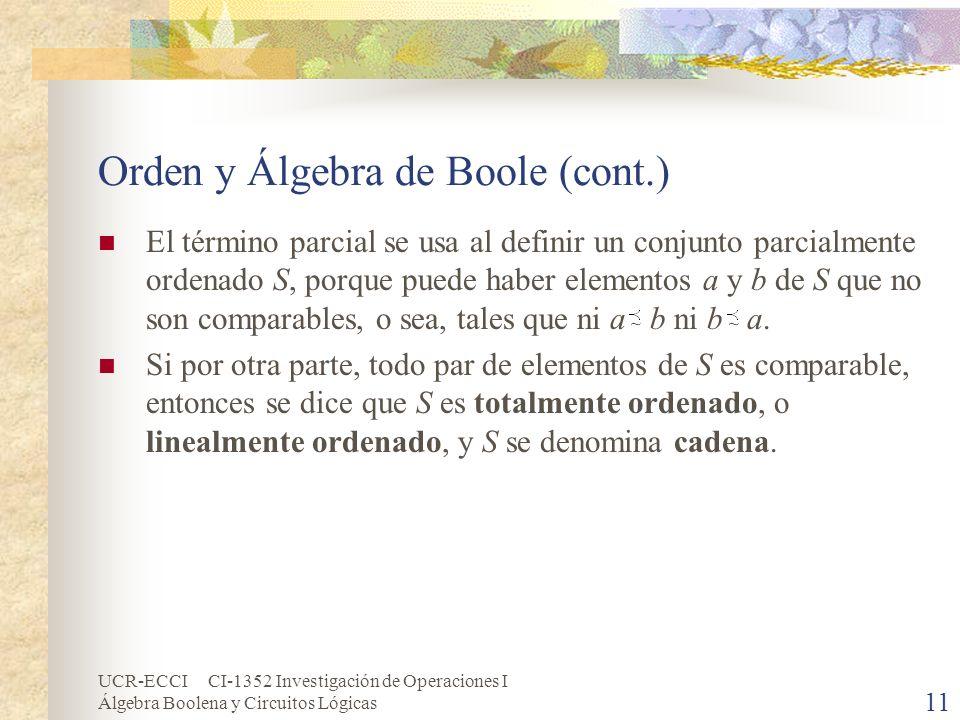 Orden y Álgebra de Boole (cont.)