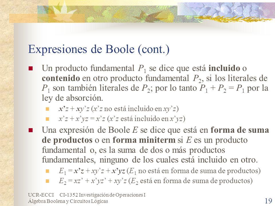Expresiones de Boole (cont.)