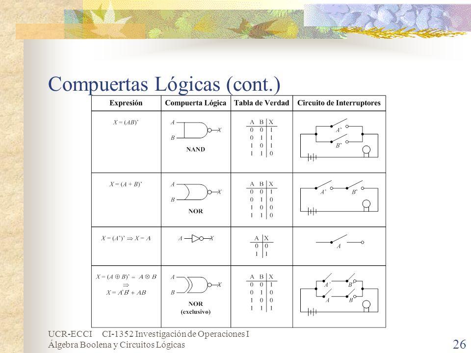 Compuertas Lógicas (cont.)