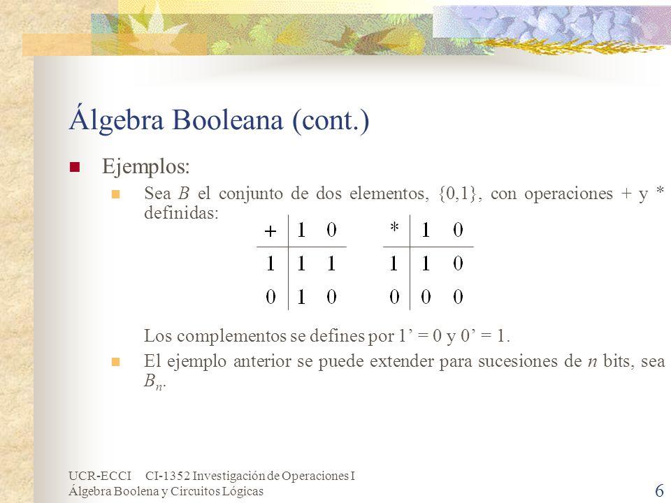 Álgebra Booleana (cont.)