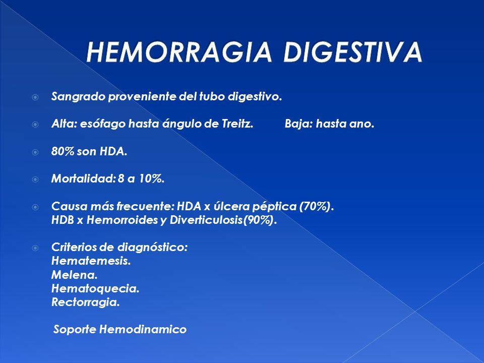 HEMORRAGIA DIGESTIVA Sangrado proveniente del tubo digestivo.