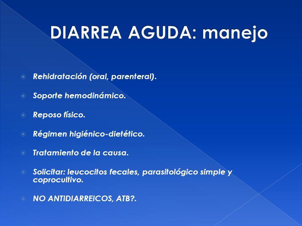 DIARREA AGUDA: manejo Rehidratación (oral, parenteral).