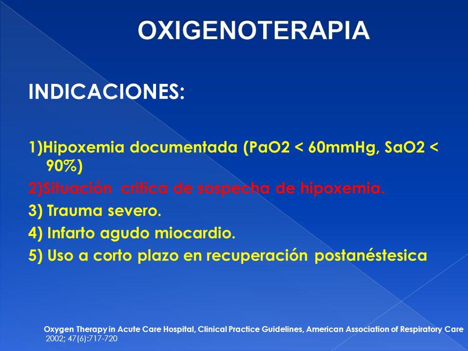 OXIGENOTERAPIA INDICACIONES: